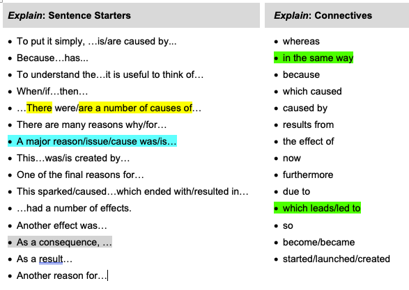 'Explain' Sentence starters and connectives